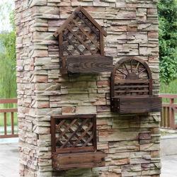 Wall-Mounted цельной древесины Flower Pot, Деревянные подставки цветов, настенные украшения корзину цветов