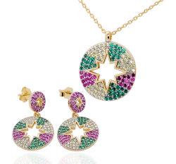 Los nuevos diseños de moda Plata 925 CZ Set de Joyas joyas Dama pendientes