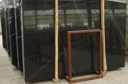 黒い大理石かNero Marquinaまたは壁のための中国の黒い大理石かフロアーリングまたはタイルまたは平板または鋳造物またはWater-Jetまたは円形浮彫りまたはモザイク