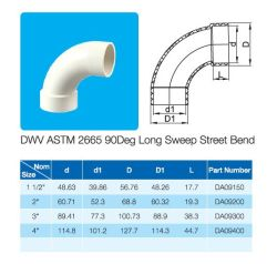 DWV ASTM 2665 90deg curva lunga strada