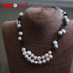 豪華な方法実質の革淡水の真珠のネックレスの卸売(E130153)