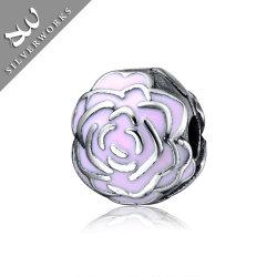 925 rosas del émbolo de bola de plata esterlina Joyería de Plata cordones