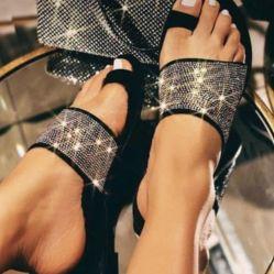 2020 Amazon mieux vendre bling cristal plat femmes pantoufles sandales