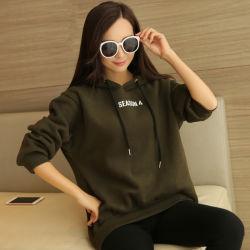 As mulheres 80% algodão de manga longa 20% poliéster Vestuário Lazer Hoody de impressão