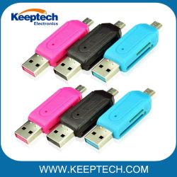 Groothandel Universal USB 2.0-kaartlezer mobiele telefoon PC-kaart Lezer Micro USB OTG-kaartlezer OTG TF / SD Flash-geheugen