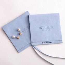 맞춤형 라이트 블루 스웨이드 가죽 선물 쥬얼리 패키징 봉투