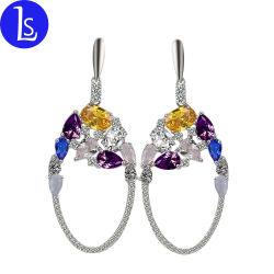 Таким образом дамы украшения красочные Циркон Drop Earring люстра серьги
