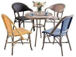 프랑스 스타일의 카페 대나무 외관용 등나무 의자 테이블 세트 현대적인 가든 레스토랑 실외 파티오 다이닝 가구 세트