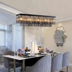 Rectangle noir moderne Creative Poignée de commande de lustres en cristal de l'île de cuisine