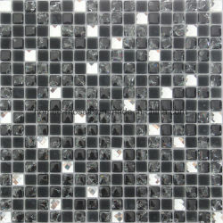 ヨーロッパスタイルのブラックとホワイトのクリスタルガラスモザイクタイル
