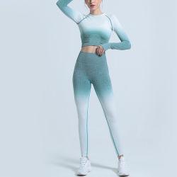 Beste verkaufende kundenspezifische Trainings-Sport-hohe Taillen-nahtlose Gamaschen-Gymnastik-Büstenhalter-Eignung-Frauen-Yoga-Abnützung