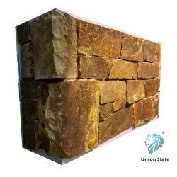石塀のブラウンの自然な緑の緩い石灰岩の壁の装飾のための分割された煉瓦表面タイル