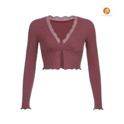 Shangyan Womens Lace Trim V Neck 긴팔 셔츠