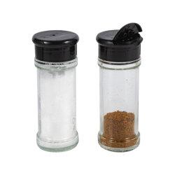 3,5 унции очистить стеклянные баночки Spice соль перец приправу бутылок контейнеров с черными Osifter заглушки крышки багажника