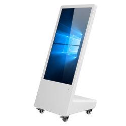 Información de 32 pulgadas de pantalla interactiva LCD panel LCD Tótem de las cuatro ruedas del reproductor de publicidad