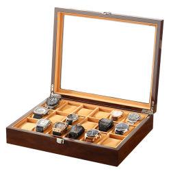18 Boîte en bois de fente Watch Watch Display cas Bijoux en Verre de l'organiseur Support de stockage Fabricant Boîte en bois d'affichage Watch