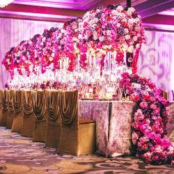 Vase de fleurs décoratives de mariage avec porte-bougie en verre de décoration pour la table pièces maîtresses de mariage