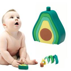 Herstellung OEM Kundengebundene Farbe Baby Spielzeug Silikon Stapeln Zacken Blöcke Spielzeug
