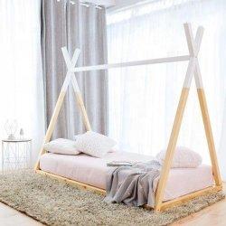 Рама твердого пола из соснового дерева Кровать односпальная кровать для детей детей детского сада и школы кровать