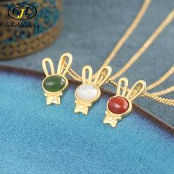 Ruby moda Animal Conejo Collar Rose Collar chapado en oro y plata 925 Joyas de la mujer