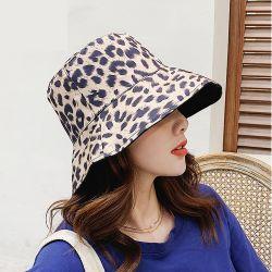 普及したヒョウプリント綿のバケツの帽子のリバーシブルの帽子