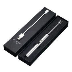 Briquets rechargeables USB en métal avec logo Laser Windproof briquets BBQ