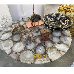 호화스러운 둥근 원석 탁상용 자연적인 실제적인 백색 마노 식탁