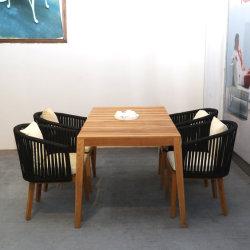 Seil, das Set mit Aluminiumrahmen für Patio-im Freien modernes Hauptseil-Speisetisch und Stuhl-Set speist