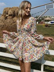 여성용 의류 2021 디자인 신 베스티도스 제조업체 레이디 스케이터 드레스 여성용 긴팔 V-Neck Floral Print 캐주얼 드레스