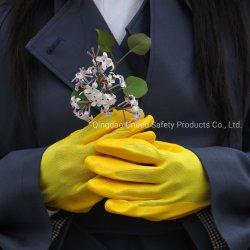 Enduit à base de nitrile lisse de haute qualité des gants de sécurité (polyester) - jaune/jaune pour le général de travailler avec des prix bon marché fournis par l'usine chinoise