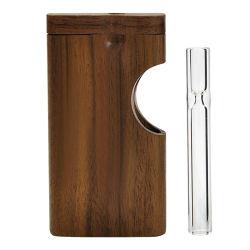 透明なタバコパイプ喫煙用アクセサリ木製ボックスサイド開口部をセットします 79mm ガラスパイプを使用した設計