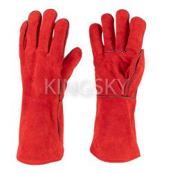 """die 14 """" /16 """" goldene/rote Farben-Kuh-aufgeteiltes Leder zeichnete völlig Schweißer-Schweißhandschuh-Arbeits-Handschuh mit Cer-Bescheinigung"""
