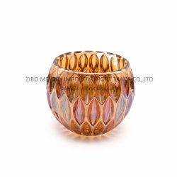 حامل شمعة زجاجي قزحي الشكل كروي الشكل مع سطح مقعر