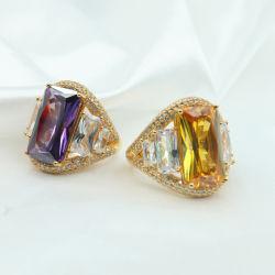 도매 고급장교에 있는 노란 지르콘을%s 가진 아름다운 정밀한 보석 칵테일 반지 센터 돌
