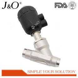 Les mesures sanitaires Pneumatical Siège de l'angle en acier inoxydable avec du plastique de l'actionneur de soupape