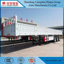 40 toneladas de 3 ejes la pared lateral/panel lateral/caída lateral semi cama alta Remolque para envase y el transporte de carga
