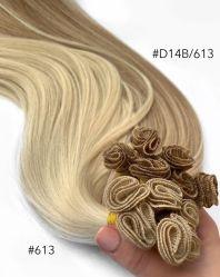 100 Double tirées des Cheveux humains indiens liée à la main d'extension vierge Remy Hair trame