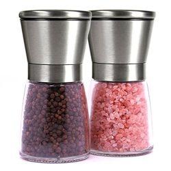 [ستينلسّ ستيل] ملح و [ببّر غريندر] زجاجيّة تابل مرطبان يثبت مع معدن أغطية