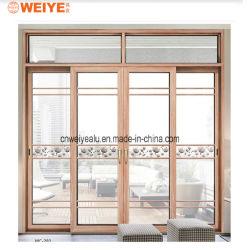 Двойной контакт алюминиевые раздвижные двери Деревянные зерна передача цвета