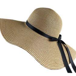 Ala gran sombrero de paja de la playa de Sun Señoras Verano Fedora papel plegable sombrero de paja