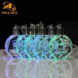 أعلى سعر بيع المصنع مع لمبة مصباح شعار سيارة معدنية علامة متعة الإضاءة سلسلة مفاتيح LED من الجلد عالي الجودة