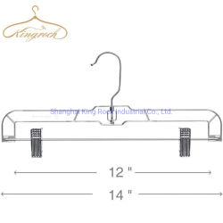 14-inch groot voor Pants rok Slakken Dress bodem Clear Plastic Hanger met 360 draaibare metalen haak
