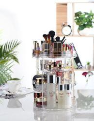 Transparent l'organisateur de maquillage, 360 degrés de rotation réglable stockage cosmétiques Présentoir avec 8 couches, l'utilisation à grande capacité pour les pinceaux, rouges à lèvres