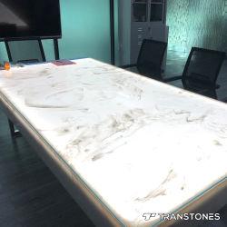 オニックス棒会議の席の半透明な人工的な石造りの樹脂のパネルのための白いアラバスターのオニックスシートの石塀のクラッディング