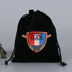 Barato Jóias Negras Bolsa de veludo com logotipo Cosméticos