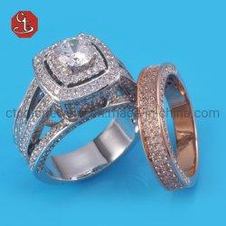 Ringe für Rhodium&Rose Zirconia der Frauen-und Mann-Form-Geliebten eingestellte Ringkubikgoldfarben-Hochzeits-Eingriffs-Zubehör