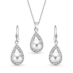 Forme de goutte d'eau argent 925 Bijoux Set Fashion Bijoux en perles