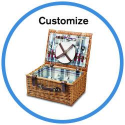 Aangepaste set met accessoires voor Natural Willow Picnic Basket