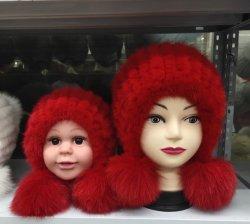As mulheres de Inverno moda Tampa Beanie Hat de peles de vison chapéu de tricotar com esfera de peles de raposa