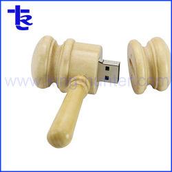 新しい到着のハンマーカスタムロゴの木製USBのフラッシュ駆動機構